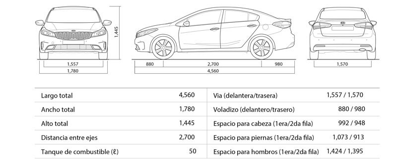 Cerato Sedan - Especificaciones